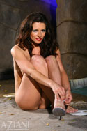 Sultry all-natural babe April Blossom gets wet in more than one way at Aziani from Aziani