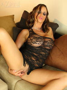 Nikki Jackson is super hot in her black lace mini dress! from Aziani