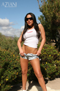Jenaveve Jolie in her Aziani tank and Daisy Duke shorts. This is a hot combination. She definitely has the ass and legs for Short Shorts from Aziani