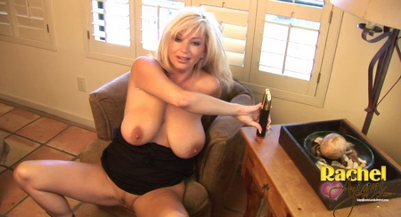 lots of sexy stuff happening in this video! Not only do I masturbate with one of my all time favorite toys, the silver bullet! BUT I pay extra close attention to my legs..showing lots of upskirt shots too. from Busty Rachel