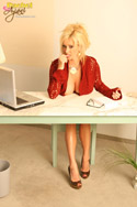 Rachel in a sexy secretary outfit...and no panties! Mrs Aziani, ready for dictation! from Busty Rachel